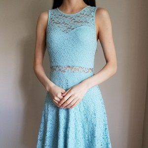 Beautiful Blue Lace See through Dress